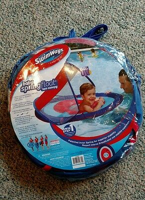 NEW! SwimWays BABY SPRING FLOAT Sun Canopy~Blue Red~9-24 Mths~50+ UPF