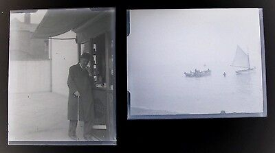 """Box Containing 8 Vintage Glass Negatives.All Shown.Fox Hunt,Donkeys.Boat.4"""" x 3"""""""