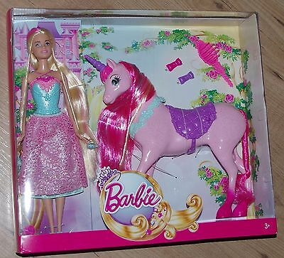 Barbie Princess Doll and Unicorn Horse Magic Hair Long djr59 pink pony fairy