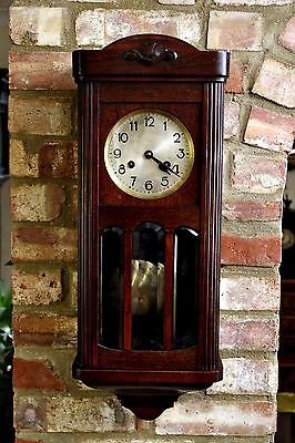 Antique German 'D.R.G.M.' 'Dufa' Wall Mahogany 8-Day Clock with Chimes