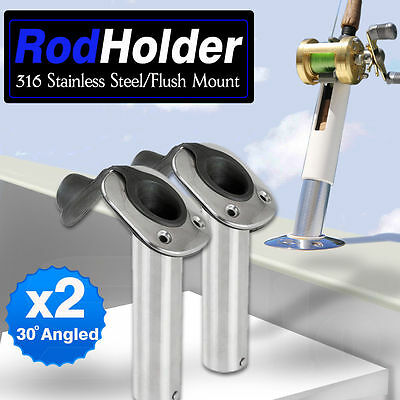 2 x 316 Marine Grade Stainless Steel 30° Angled Boat Fishing Rod Holders & Caps