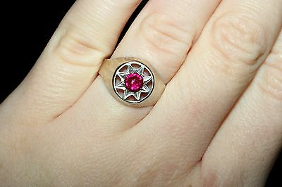Silver RUBY stone Unique Vintage Ring USSR Antique SIZE 7.5