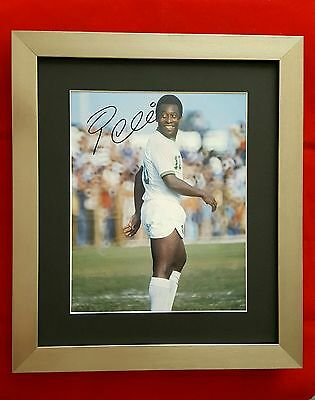 Framed + Hand Signed Photo. Of PELE - Legend Of Football (Cert. Authenticity)