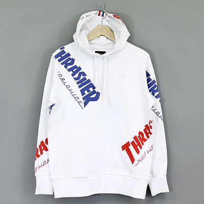 HUF x Thrasher TDS All Over Print Hoodie White