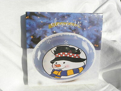 """Elements Hand Painted Winter Whimsical Snowman 12"""" Ceramic Serving Bowl NIB"""