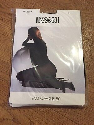WOLFORD - MAT OPAQUE 80 Denier BLACK TIGHTS - Size LARGE - BRAND NEW IN PACKET