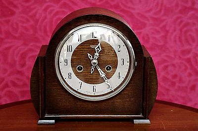 Vintage Art Deco 'Enfield' Oak Mantel 8-Day Clock with Chimes