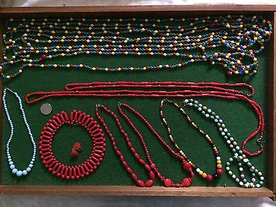 lot of 13 vintage  red and multicoloured milk glass 1950-60 necklaces