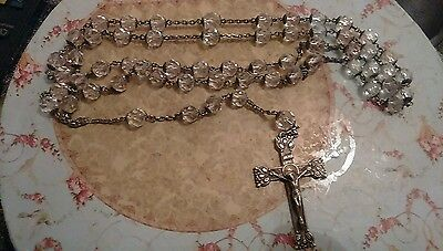"""Beautiful Vintage Crystal And Sterling Silver 48"""" Long Rosary Necklace"""