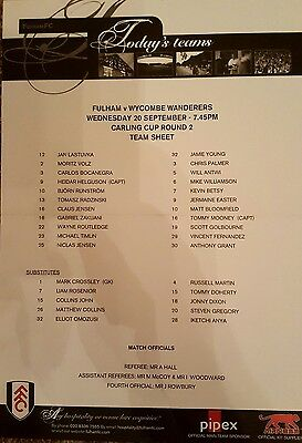 2006-07  FULHAM V WYCOMBE WANDERERS (League Cup) - Official Colour Teamsheet