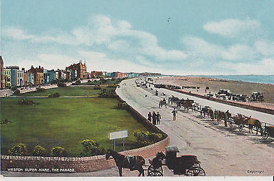 Weston Super Mare - The  Parade And Horse Drawn Carriages  Early Postcard