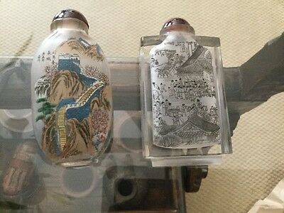 Chinese Reverse Painting Glass Snuff Bottles, Set Of Two, Red Tops