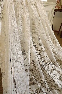 Delicieux Antique French Filet Lace Bed Cover Or Window Panel - Boudoir Chic !