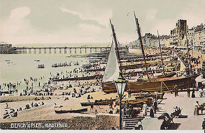 Hastings Beach And Pier Early Coloured Postcard