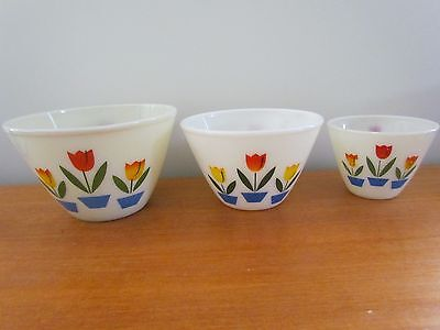 Set of 3 Vintage Fire King Tulip Mixing Bowls
