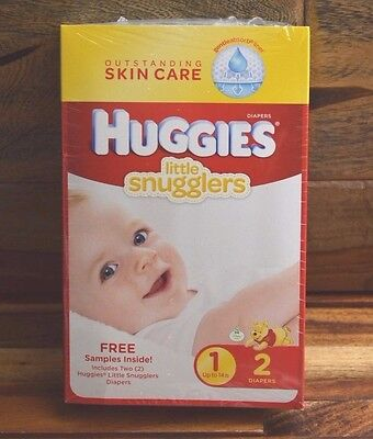 """Huggies Little Snugglers Sample, 2 Diapers Size 1 """"New"""""""
