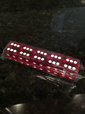 5 Pc Clear Red Dice Regular Size