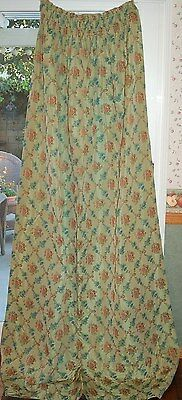 Vintage Green Victorian Rose Lined Cotton Drapes Fabric Panel 30's Pull String