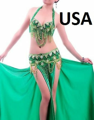 Belly Dance Costume Outfit Bra Top Hip Belt Set USA  Fast Shipping  (FREE GIFT)