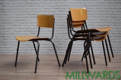 Vintage Industrial Stacking School Cafe Bar Kitchen Dining Chairs FREE DELIVERY