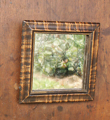 Tiger Maple Mirror Framed Exceptional 1800s Wood and Glass Patina Ogee Frame