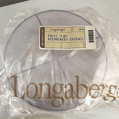 """New Longaberger 9"""" Round Keeping Plastic Protector & Lid Replacement 40434 40433"""