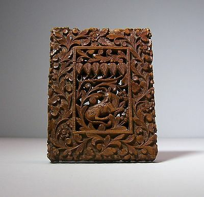 Superb! Large Antique Asian Anglo Indian Carved Openwork Wooden Card Case