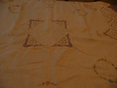 """PRETTY TABLECLOTH-DECORATED WITH EMBROIDERED FLOWERS 43"""" long"""