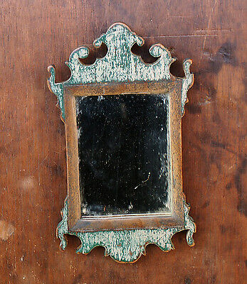 Miniature Chippendale Mirror 1800s Birch Wood Old Style Green & White Patina
