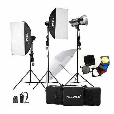 New 900W Photo Photography Studio Flash Strobe Lights Kit 3x300W Heads Umbrella