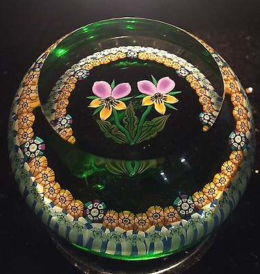 1985 C Perthshire Wild Pansy Lt Ed 350 Art Glass Paperweight