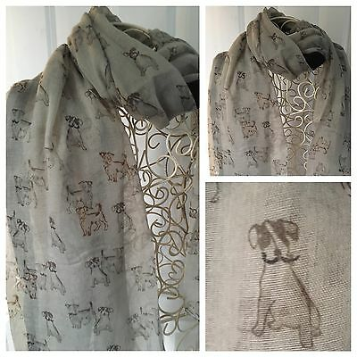 Jack Russell Terrier Dog Scarf Shawl New Large Grey Christmas Gift