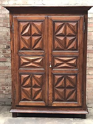 RARE Antique French Provincial Carved Oak Armoire