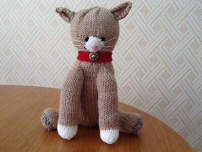 Hand Knitted Stuffed Toy Cat.  Proceeds to Cancer Research.
