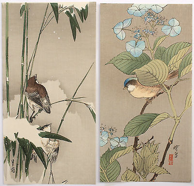 Two Japanese Kacho-e Woodblock Prints Birds by Gesso and Gyosui