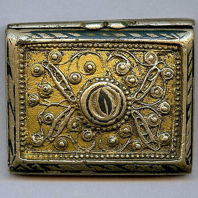 Small Silver Bronze Koran Qur'an Box Niello and Gold Overlay 19th Century