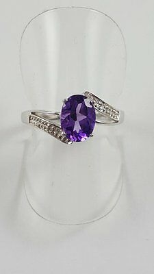 Silver Amethyst And Diamond Oval Ring Size M