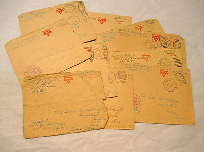 Lot of Eleven Censored WWI WW1 Envelopes on YMCA Covers Army Postal Service 1918