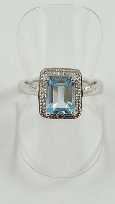 Silver Blue Topaz And Diamond Square Ring Size P