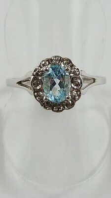 Silver Blue Topaz And Diamond Vintage Style Ring Size P