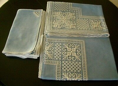 """Embroidered open work Blue & White Voile Tablecloth + 12 Napkins 102"""" x 72"""""""
