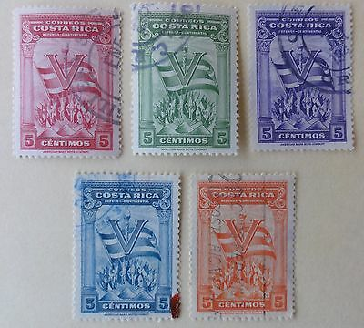 Costa Rica Mi 296-300 - Continental Defense - Set of 5 Stamps - 1942 Used