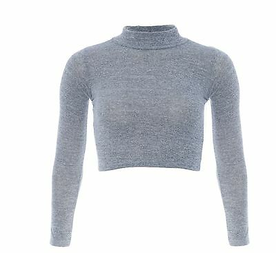 Womens Ladies Knitted Turtle Polo Neck Crop Top Long Sleeve Short Plain