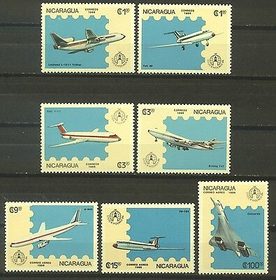 Nicaragua 1986; Airplanes; Complete Set Of 7; Sc # 1553-1559; Mint Never Hinged