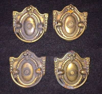 #22 Antique Set 4 Victorian Oval Federal Dresser Solid Brass Drawer Pull 2.5""