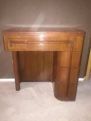 Vintage Sewing Machine Cabinet Table and Seat with Storage