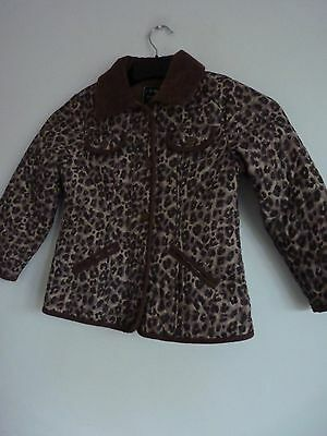 Girlls Lovely Next Leopard Print Quilted Jacket Age 5/6 Years 116 cm, Vgc