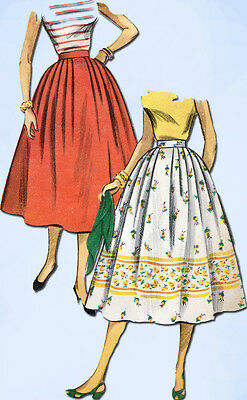 1950s Vintage Simplicity Sewing Pattern 4648 Uncut Easy Misses Skirt Size 23.5 W