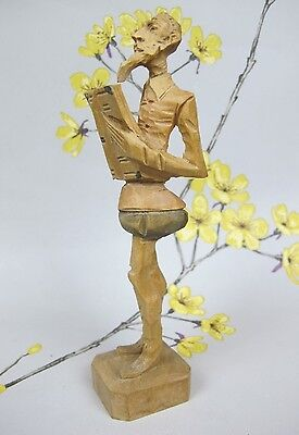 Lovely vintage Treen Wooden Carving ~ Carved Figure ~ Figurine Don Quixote 16 cm
