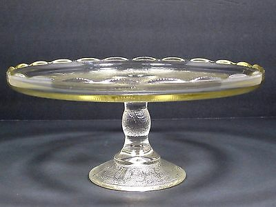 """Jeannette Glass """"clear Scalloped Edge"""" Harp Cake Stand"""